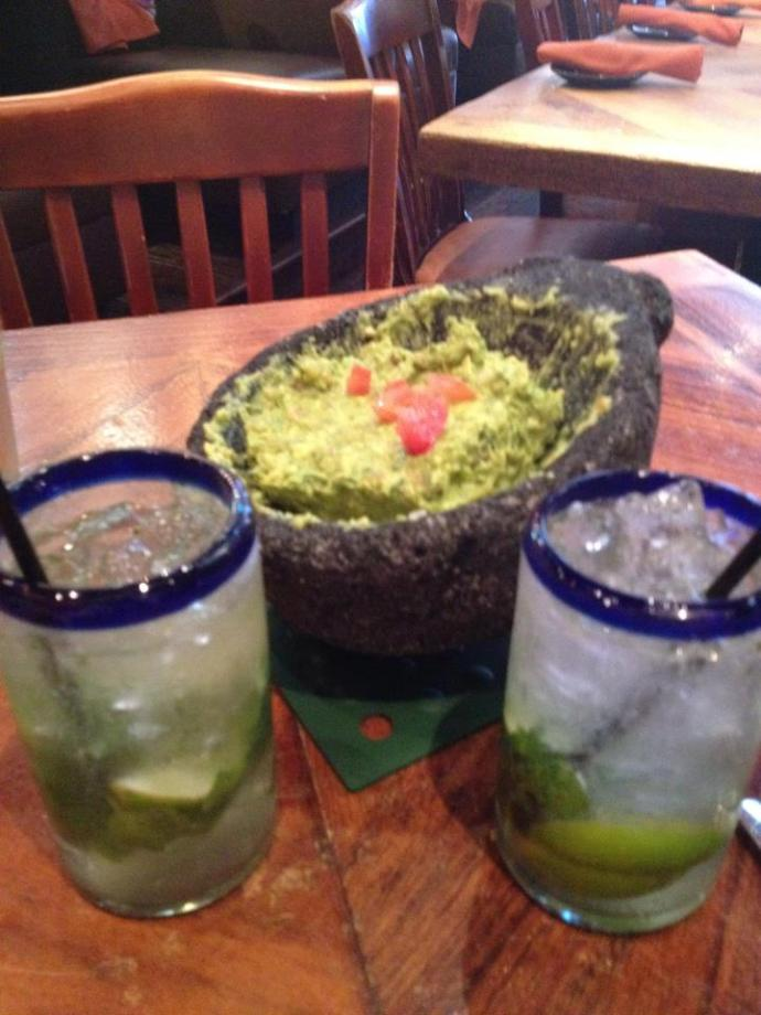 Cheers to you guys! Guac and coconut mojitos!
